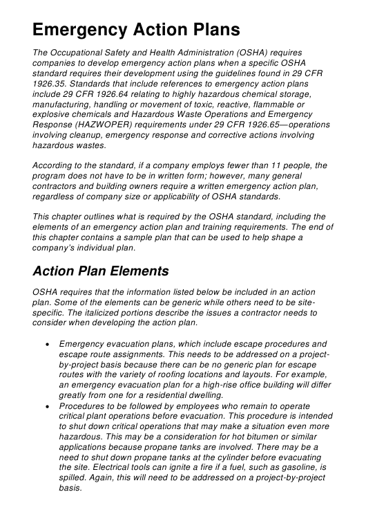 """Emergency Action Plan Template"" Download Pdf"