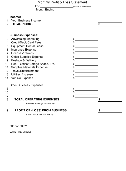 """""""Monthly Profit and Loss Statement Template"""" Download Pdf"""