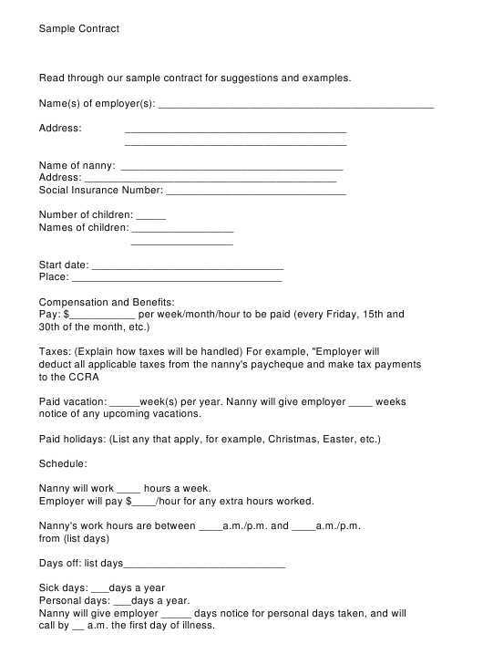 """Sample Contract Template"" Download Pdf"