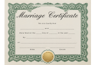 Beige Marriage Certificate Template With Green Frame