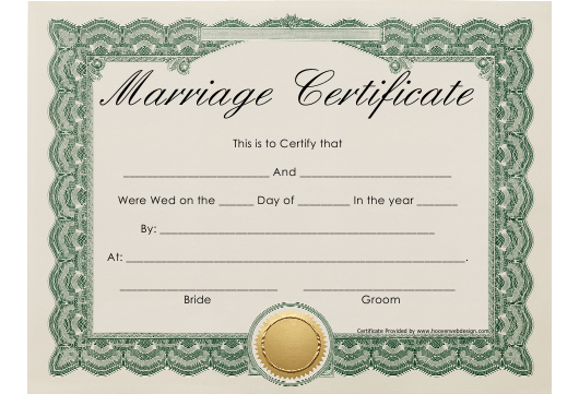 """Beige Marriage Certificate Template With Green Frame"" Download Pdf"