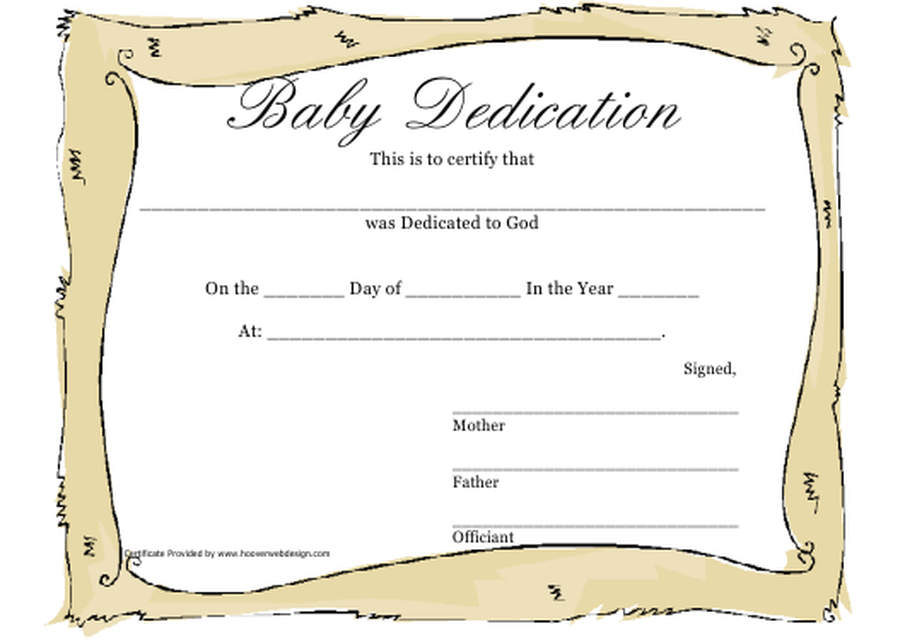 Baby Dedication Certificate Template Download Printable Pdf