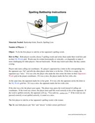 Spelling Battleship Game Template