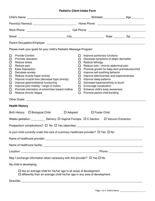 """Pediatric Client Intake Form"" Download Pdf"