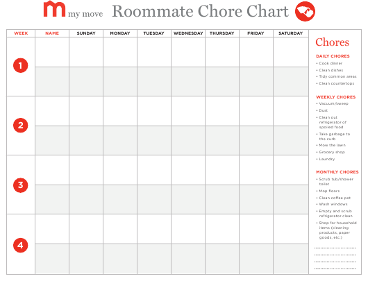 """Roommate Chore Chart Template - My Move"" Download Pdf"