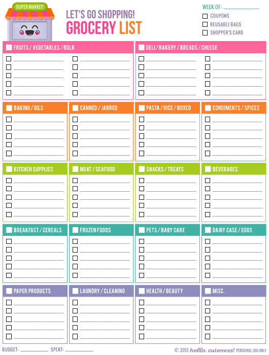 """""""Grocery List Template"""" Download Pdf"""