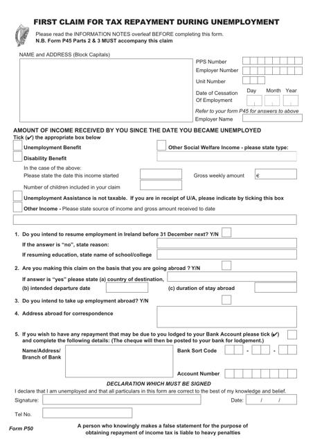 Form P50 Printable Pdf