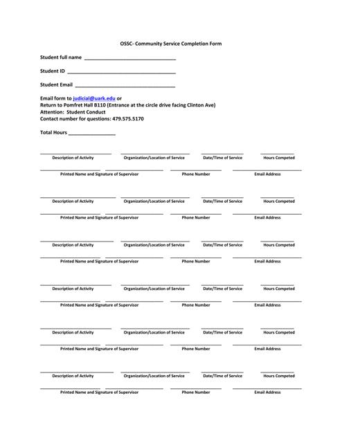 """Community Service Completion Form - University of Arkansas"" Download Pdf"