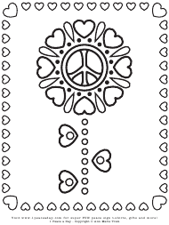 """Peace Sign Heart Flower Coloring Sheet"""