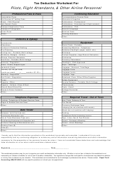 Tax Deduction Worksheet For Pilots, Flight Attendants, & Other Airline Personnel