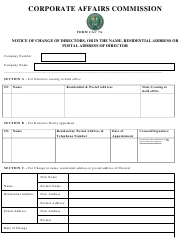 """Form CAC7A """"Notice of Change of Directors, or in the Name, Residential Address or Postal Address of Director"""" - Nigeria"""