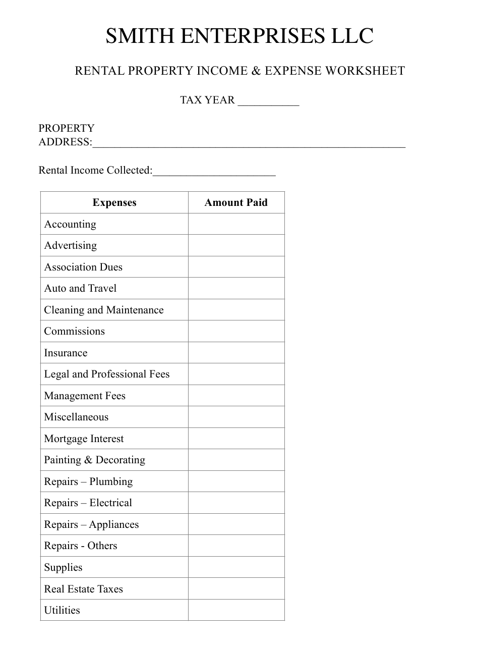 Rental Property Income & Expense Worksheet Template ...