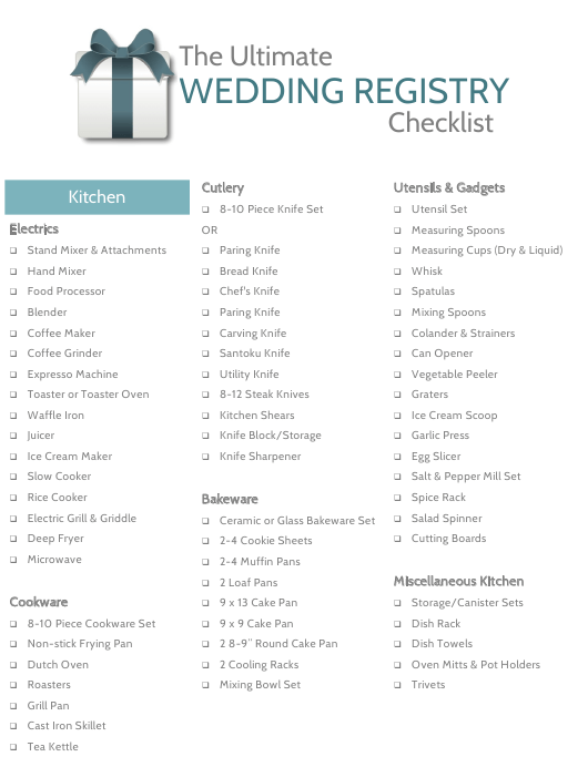 The Ultimate Wedding Registry Checklist Template Download Pdf