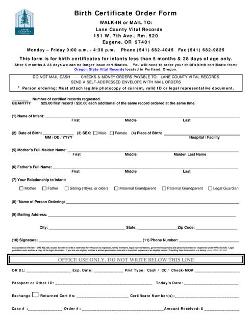 """Birth Certificate Order Form"" - Lane County, Oregon Download Pdf"