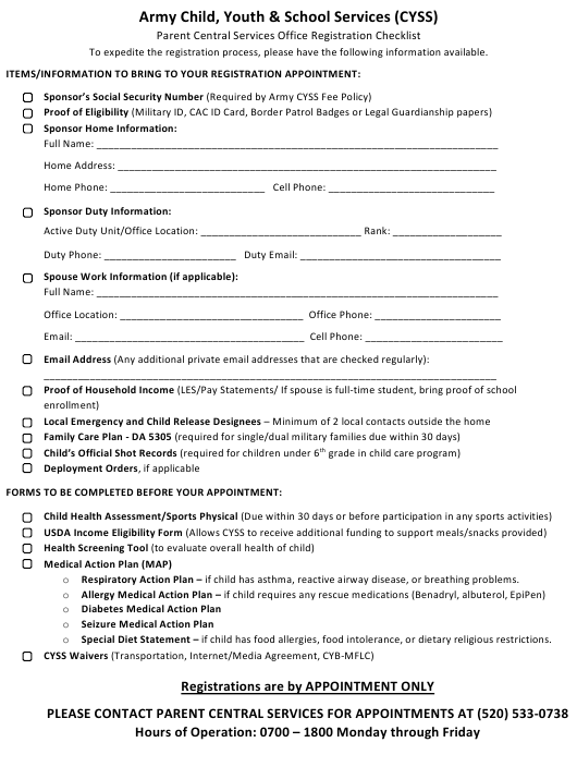 """Army Child, Youth & School Services Parent Central Services Office Registration Checklist Template"" Download Pdf"