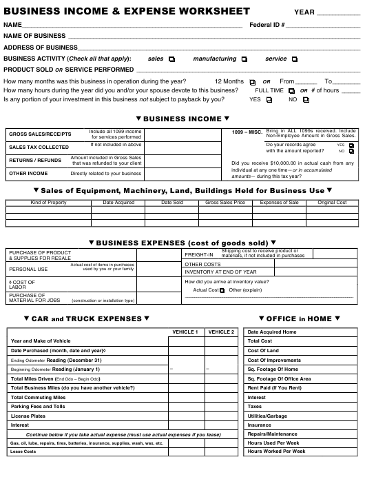 Business Income & Expense Worksheet Download Printable PDF ...