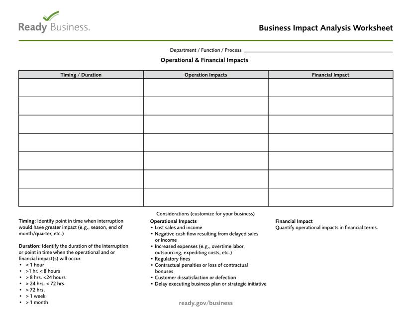 """Business Impact Analysis Worksheet - Ready Business"" Download Pdf"