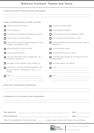 """Tweens and Teens Behavior Contract Template - Contract Between Parents & Teenagers - Home Contract"""