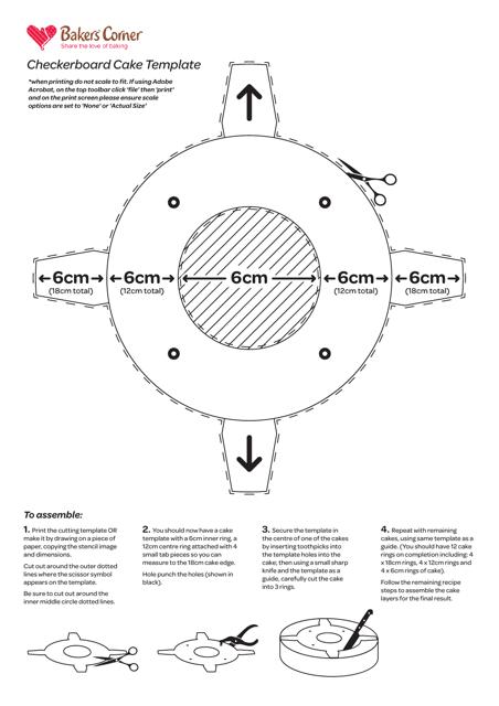Checkerboard Cake Template - Bakers' Corner Download Printable PDF