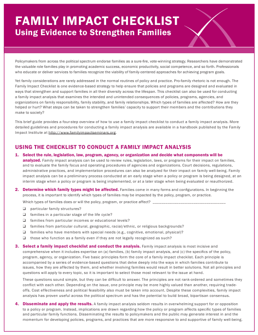 """""""Family Impact Analysis Checklist Template - the Family Impact Institute"""" Download Pdf"""