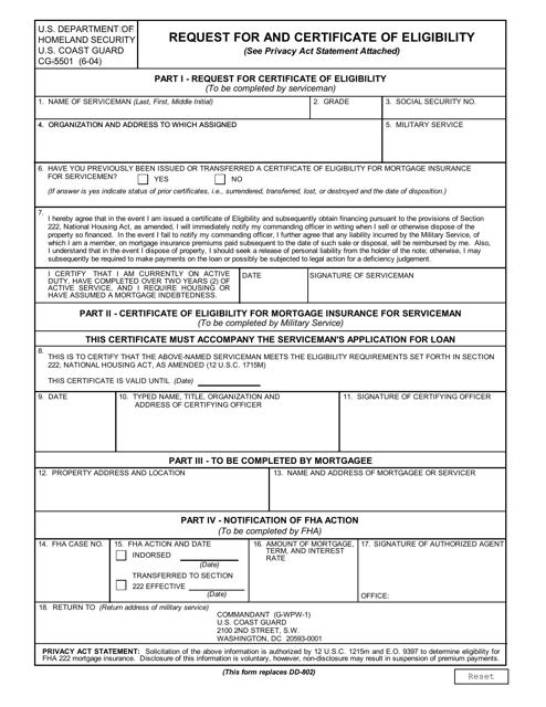 DHS Form CG-5501  Printable Pdf