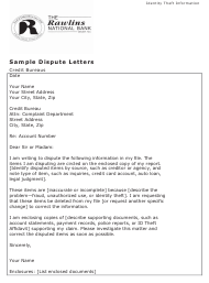 """Sample """"Credit Dispute Letter Template (Identity Theft) - the Rawlins National Bank"""""""