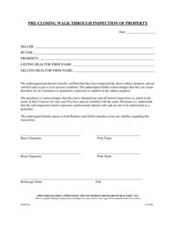 Pre-closing Walk Through Inspection of Property - South Broward Board of Realtors