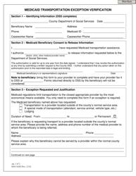 "Form DMA-5048 ""Medicaid Transportation Exception Verification"" - North Carolina"