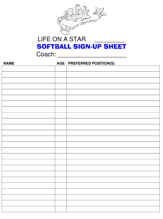 """Softball Sign-Up Sheet - Life on a Star"" Download Pdf"