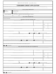 Consumer Credit Application Form - First State Bank - Lynnville, Iowa