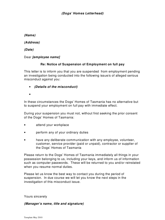 """Sample Notice of Suspension of Employment on Full Pay"" Download Pdf"