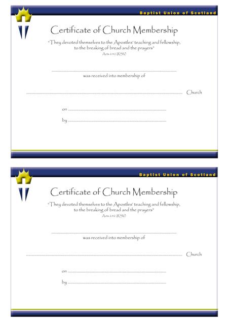 """Certificate of Church Membership Templates - Baptist Union of Scotland"" Download Pdf"