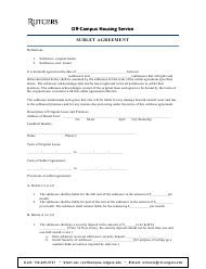 """Sublet Agreement Template - Rutgers"""