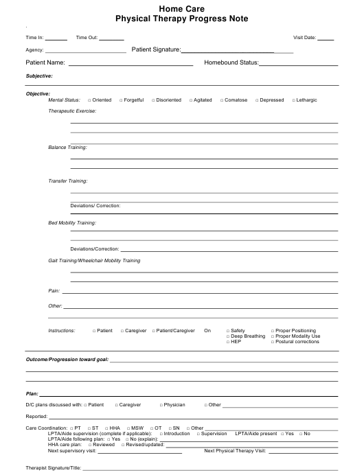 Home Care Physical Therapy Progress Note Template Download