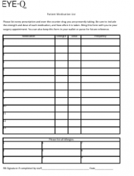 Patient Medication List Template - Eye-Q