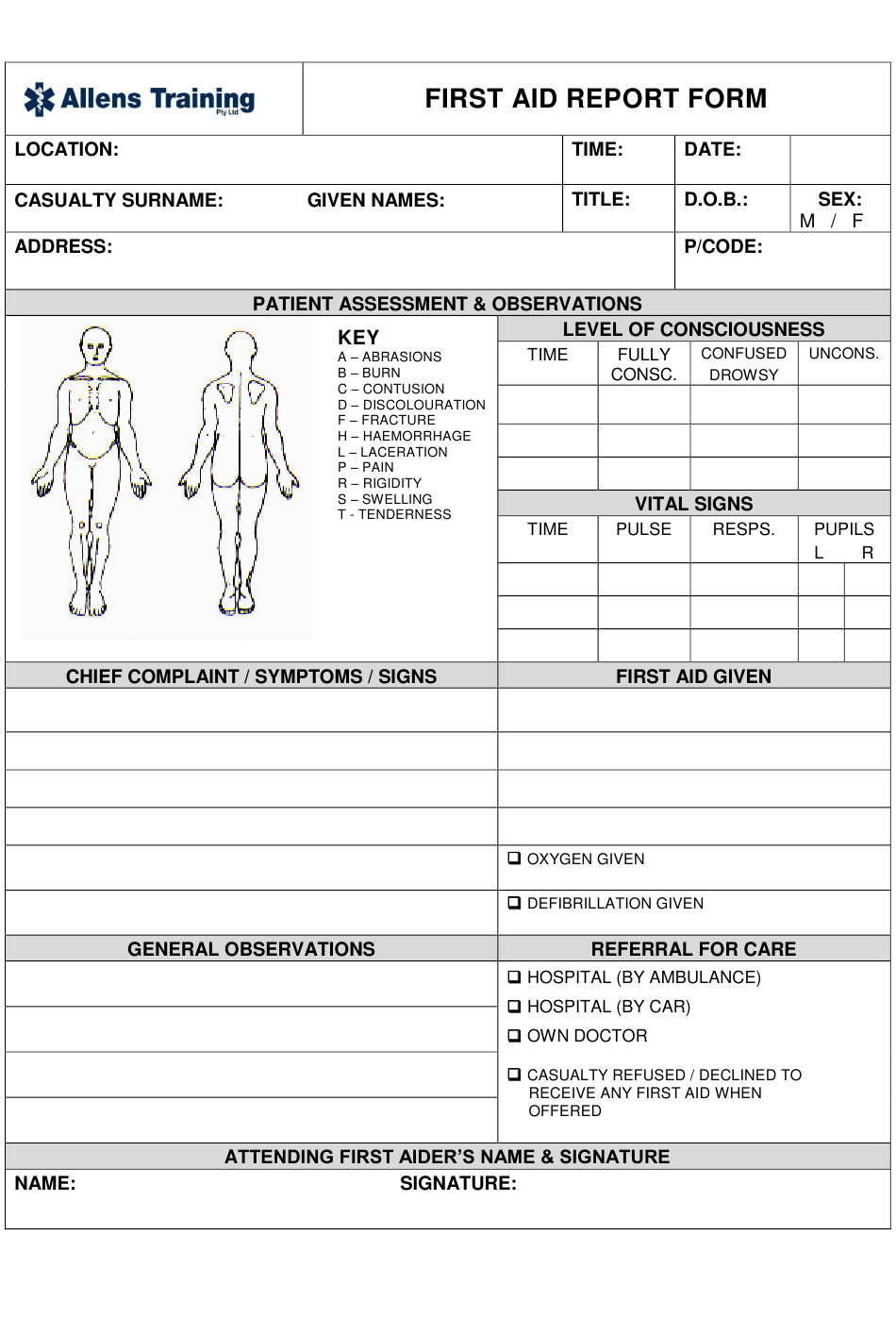 First Aid Report Form - Allens Training Download Printable PDF Pertaining To Nursing Assistant Report Sheet Templates