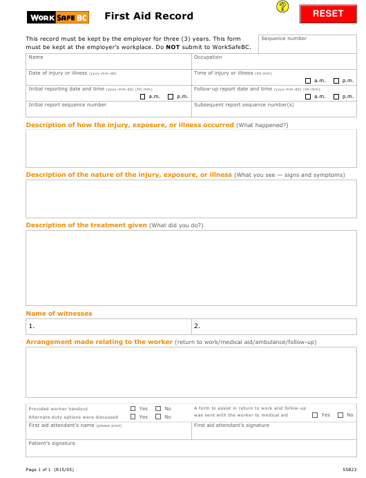 """First Aid Record Template - Worksafebc"" Download Pdf"