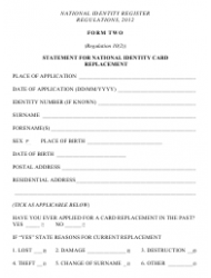 Form 2 Statement for National Identity Card Replacement
