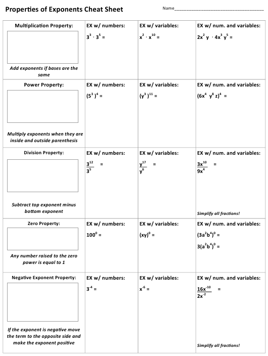 Properties Of Exponents Worksheet With Answer Key Download Printable  Properties Of Exponents Worksheet With Answer Key Download Pdf