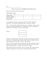 Rock Cycle Lab - Modeling With Starbursts Worksheet