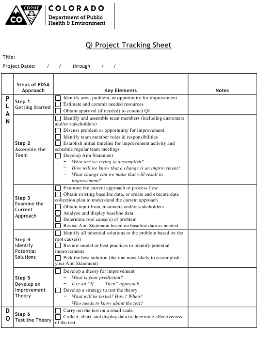 """Qi Project Tracking Sheet"" - Colorado Download Pdf"