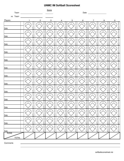 """Unmc Im Softball Scoresheet"" Download Pdf"
