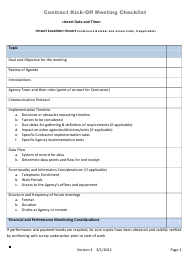 Contract Kick-Off Meeting Checklist Template