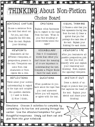 """Thinking About Non-fiction Choice Board Template"""