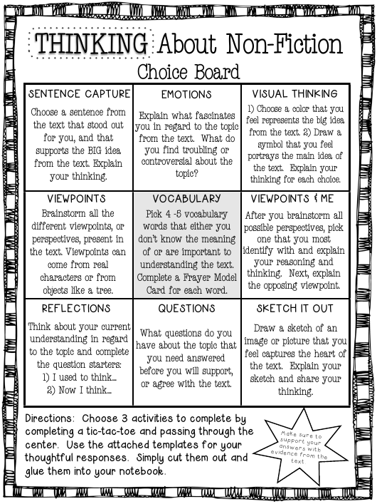 Thinking About Non Fiction Choice Board Template Download