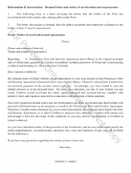 Sample Demand Letter And Notice Of Acceleration And Repossession