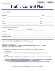 Traffic Control Plan Form - City of Springfield, Oregon