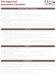 Pre-approval Document Checklist Template - Amg Mortgage