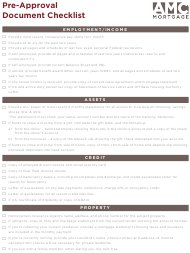 """Pre-approval Document Checklist Template - Amg Mortgage"""