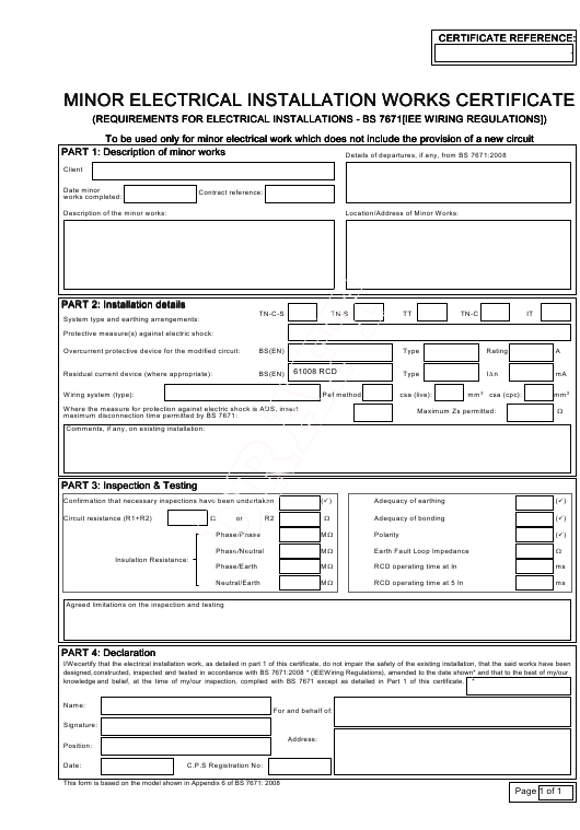 Minor Electrical Installation Works Certificate Template Download